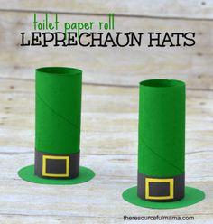 St. Patrick's Day toilet paper roll leprechaun hat craft for kids