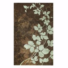 i like this rug - shades of brown with light turquoise blue flowers and cream accents.