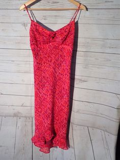 Womens CDC Pencil Summer Dress Poly Size 4 Spagetti Straps Red Purple Abstract  #CdcClothing