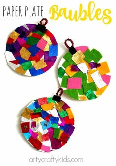 Paper plate baubles collaging
