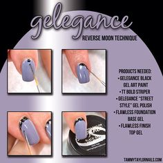 Tammy Taylor Nails nail tutorial for the Reverse Moon Technique! Tammy Taylor Nails, Flawless Foundation, Cool Nail Designs, Nail Tutorials, Simple Art, Mani Pedi, Gel Polish, You Nailed It, Fun Nails