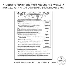 Wedding Traditions from Around the World, Bridal Shower Game, Black and White Instant Download Shower Game, Multicultural Shower Game