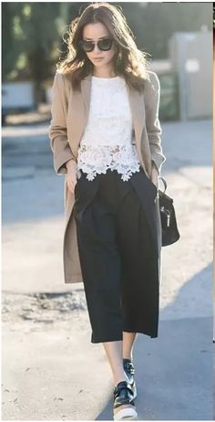 Black culotes+black platform shoes+ white lace top+beige long jacket or coat