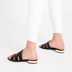 FLAT SHOES WITH METAL HEEL DETAIL-Sandals-SHOES-WOMAN   ZARA United States