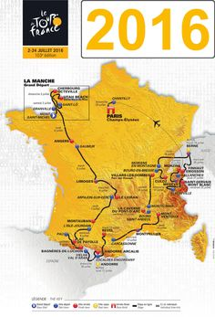 La carte des étapes du Tour de France 2016