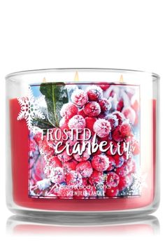 "Frosted Cranberry - 3-Wick Candle - Bath & Body Works - The Perfect 3-Wick Candle! Made using the highest concentration of fragrance oils, an exclusive blend of vegetable wax and wicks that won't burn out, our candles melt consistently & evenly, radiating enough fragrance to fill an entire room. Topped with a silver, snowflake-embossed lid! Burns approximately 25 - 45 hours and measures 4"" wide x 3 1/2"" tall."