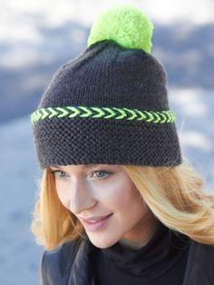 Pop of Neon Hat | Yarn | Free Knitting Patterns | Crochet Patterns | Yarnspirations