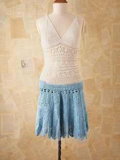 vintage crochet dress from free people Vintage Crochet Dresses, Crochet Skirts, Crochet Clothes, Crochet Tops, Boho Outfits, Fashion Outfits, Fashion Ideas, Women's Fashion, Denim And Lace