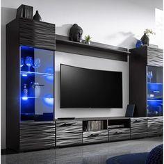 Modern Living Room TV Wall - Orren Ellis Priebe Modica Modern Entertainment Center for TVs up to Modern Tv Room, Modern Tv Wall Units, Modern Living, Modern Tv Cabinet, Minimalist Living, Modern Wall, Small Living, Tv Unit Decor, Tv Wall Decor
