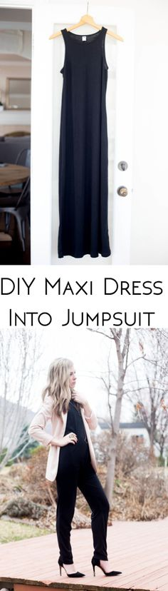 It's a simple DIY that can really switch up your current wardrobe. Take a maxi dress and refashion it into a romper, or jumpsuit as so...