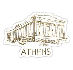 'Athens Greece' Sticker by MichaelRellov Red Bubble Stickers, Diy Stickers, Printable Stickers, Ancient Greek Clothing, My Adventure Book, New Sticker, Journal Stickers, Athens Greece, Aesthetic Stickers