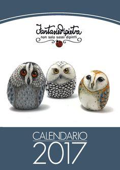 Printable Calendar 2017, painted rock animals Calendar Planner 2017 PDF, A4 Wall Calendar, Modern Instant Download di Fantasiedipietra su Etsy