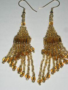 Beaded Goldtone 2 layered Swirl Earrings by KrystalHallman on Etsy, $8.15