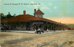 Postcard featuring the Americus Central of Georgia depot, ca. 1900.
