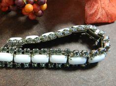 Vintage Milk Glass Smokey Gray Rhinestone Bracelet by JeweledLuv, $50.00