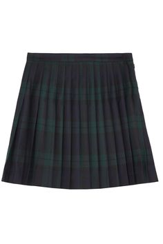 Navy and forest-green tartan wool Pleats, lined at internal trims Concealed zip, hook and side button fastening wool; Green Plaid Skirt, Tartan Mini Skirt, Plaid Wool Skirt, Green Mini Skirt, Wool Skirts, Plaid Skirts, Blue Plaid, Navy Blue, Navy Skirt