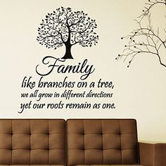 Family Wall Decal Quotes Family Like Branches On A Tree Inspirational Quote Wall Decals Murals Vinyl Lettering Wall Art Home Decor Q116 FabWallDecals http://www.amazon.com/dp/B00X896L7G/ref=cm_sw_r_pi_dp_N8Htvb0CGREN1