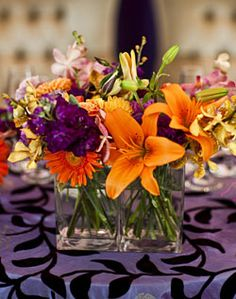 purple and orange flowers Lily Centerpieces, Wedding Reception Centerpieces, Centrepieces, Centerpiece Ideas, Purple Wedding, Our Wedding, Wedding Ideas, Wedding Stuff, Dream Wedding