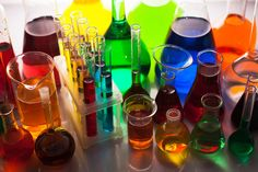 liquid chemicals in laboratory glassware