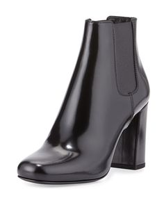 X2VDN Saint Laurent Polished Leather Chelsea Boot, Black