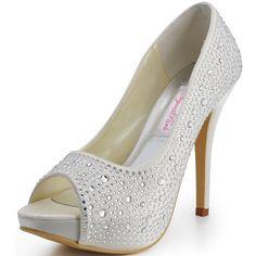 Elegantpark EP11066-IP Ivory Women's Peep Toe Rhinestones Stiletto Heel Platform Satin Bride Wedding Pumps US 8
