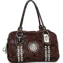 Designer Style rhinestone studded satchel bag with lion emblem - Coffee - FREE SHIPPING