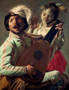The Duet (1628). Hendrick ter Brugghen (Dutch, 1588-1629). Oil on canvas. Louvre Museum. In The Duet, ter Brugghen makes the Baroque style sing. Two figures dance and sing out loud to music being played on the lute. The musician's fanciful costume, with its extravagant feathered cap, suggests that he is from the world of theatre. The young woman has adorned her hair with feathers and a pearl pendant and wears a bright red skirt.