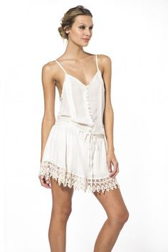 The perfect summer beach dress, you'll love the 2015 Malai Swimwear Ivory Heron Mini Dress in Cotton. The ivory slip dress is perfect with deep open back and adjustable drawstring at wa… Beachwear, Swimwear, Heron, Cover Up, Ivory, Rompers, Summer Dresses, Cotton, Fashion