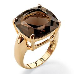 Palm Beach Jewelry PalmBeach 28 TCW Cushion Princess-Cut Genuine Smoky Quartz Yellow Gold-Plated Multi-Faceted Ring (Size Women's Brown - April 27 2019 at Diamond Jewelry, Gemstone Jewelry, Jewelry Rings, Jewelry Accessories, Glass Jewelry, Jewelry Ideas, Jewelry Watches, Fine Jewelry, Smoky Quartz Ring