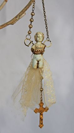 GLORY Frozen Charlotte Doll with Pearls and by jeanettejanson
