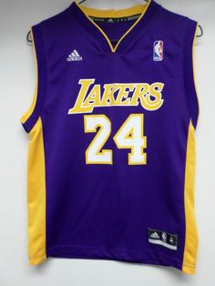24 KOBE BRYANT LOS ANGELES LAKERS ADIDAS BRAND JERSEY YOUTH SIZE S(8) 7db1d8492