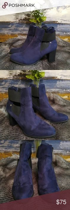 Attention Rich Navy Faux Suede Booties Size 9 Attention Rich Navy Faux Suede Booties  Size 9 Preowned. Good condition. Please review pictures and ask all the questions you like. Thanks Attention Shoes Combat & Moto Boots