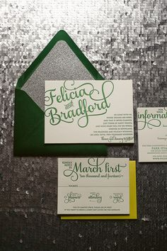 This unique color scheme on our ADELE suite is bright and vivid!Felicia and Bradford's wedding invitations are shown here in Letterpress printing. Looking for something unique like this? Green Wedding Invitations, Letterpress Wedding Invitations, Wedding Stationary, Party Invitations, Tinkerbell Invitations, Invites, Invitation Paper, Invitation Design, Peter Pan Wedding