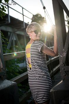 Mini striped backless summer dress/ letnia sukienka w paski