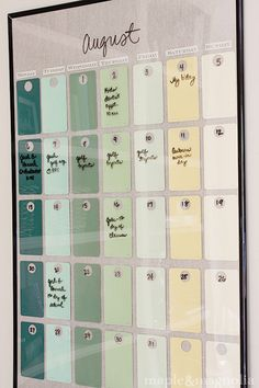 Paint chip calendar made from paint swatches and a glass frame. Use Expo markers to write atop, erase each month. #DIY idea.