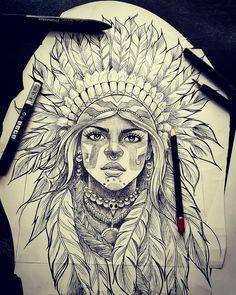 Indian Women Tattoo, Indian Girl Tattoos, American Indian Tattoos, Indian Tattoo Design, Leg Tattoos, Body Art Tattoos, Sleeve Tattoos, Tattoos For Guys, Tatoos
