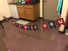 A banner for Cody's send off party. I used colored card stock, yarn, and cut out bubble letters on computer paper. Very simple and looks nice!! Boot camp going away party; navy party