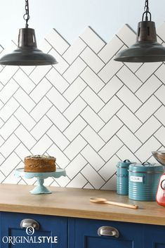Wall tiles by Original Style, Artworks Range, Vintage White Half Tile. Use these warm Vintage White classic half tiles for a crisp, clean look in bathrooms and kitchens. With a modern herringbone pattern these white tiles are perfect for a modern kitchen or bathroom.