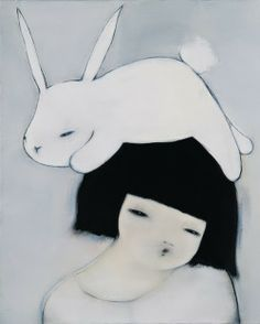 white bunny on black hair illustration by Hanna Kim Lapin Art, Art Asiatique, Rabbit Art, Bunny Art, Inspiration Art, Arte Popular, Electronic Art, Korean Artist, Oeuvre D'art