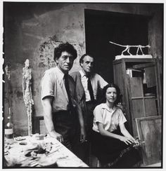 Alberto Giacometti, his wife Annette and brother Diego, Paris, photo: Alexander Liberman