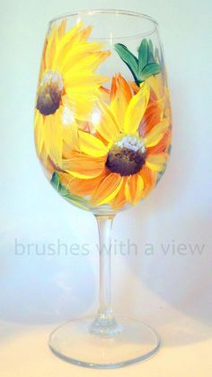 Hand Painted Sunflower Wine Glasses , A perfect Fall wine glass featuring yellow sunflowers painted on a stemmed wine glass. Decorated Wine Glasses, Hand Painted Wine Glasses, Wine Glass Crafts, Wine Bottle Crafts, Bottle Painting, Bottle Art, Diy Painting, Wine Bottle Glasses, Wine Bottles