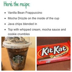 🍫 You need to try this😍 Kit Kat frappuccino!🍫 You need to try this😍,Starbucks copy cat drinks Kit Kat frappuccino! Starbucks Secret Menu Items, Starbucks Hacks, Starbucks Secret Menu Drinks, Starbucks Coffee, Starbucks Food, Starbucks Order, Starbucks Smoothie, Healthy Starbucks, Smoothie Drinks