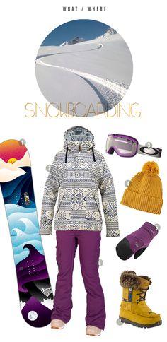 super cute chicks snowboard outfit - plum & mustard