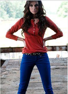 Elbow Patch Henley, Animal Print Skinny Belt, Cobalt Blue Jeans