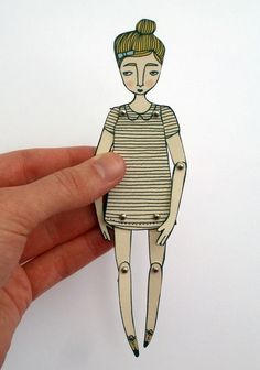 miniature moveable paper doll by JordanGraceOwens on Etsy