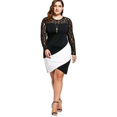 Bobycon Dresses For Women Sexy Lace Robe Plus Size Lace Panel Asymmetric Long Sleeve Dress Black White Mini Vestido Black Long Sleeve Dress, Dress Black, Lace Skirt, Sexy Women, Plus Size, Black And White, Formal Dresses, Mini, Skirts