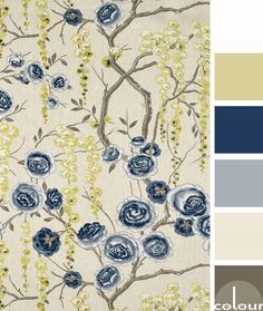 navy and tan color palette, color combinations, color schemes, color ideas, color for interiors, color palettes, paint palettes, gray-brown, light tan, battleship gray, navy blue, chartreuse yellow, soft white, pantone navy peony