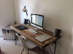 Industrial Chic Reclaimed Custom Hairpin Leg Office Desk Tables.Steel & Wood | eBay