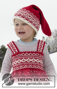 Miss Cookie Hat pattern by DROPS design - Stickning Baby Knitting Patterns, Christmas Knitting Patterns, Knitting For Kids, Free Knitting, Drops Design, Crochet Christmas Hats, Magazine Drops, Knit Crochet, Crochet Hats