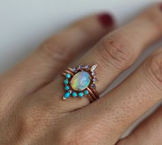 Ocean Engagement Ring Set Solitaire Fire Opal with Moonstone